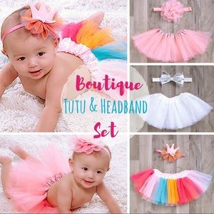 NEW! Boutique Tutu and Headband Set - 3 Styles!